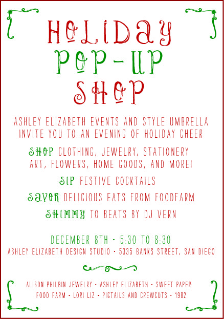 Holiday Pop Up Shop!!!